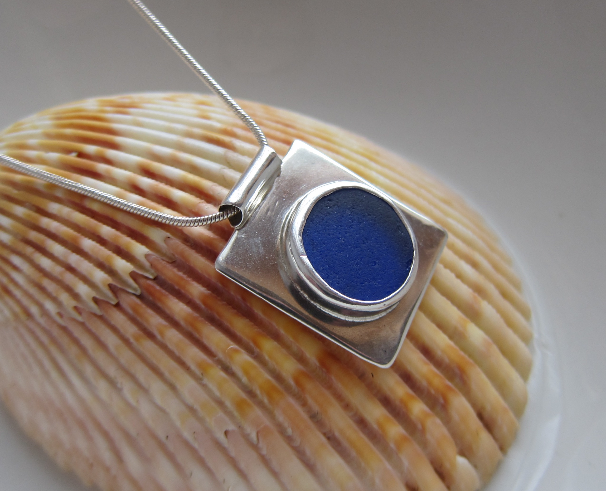 Sterling silver and cobalt blue sea glass necklace aloadofball Choice Image