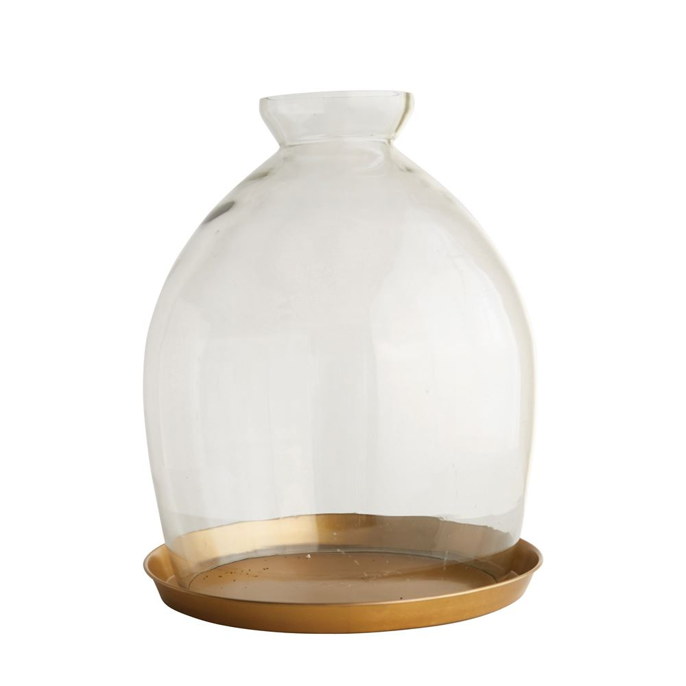Glass Cloche with Brass Tray