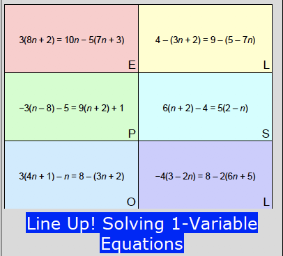 Line Up! Solving 1-Variable Equations