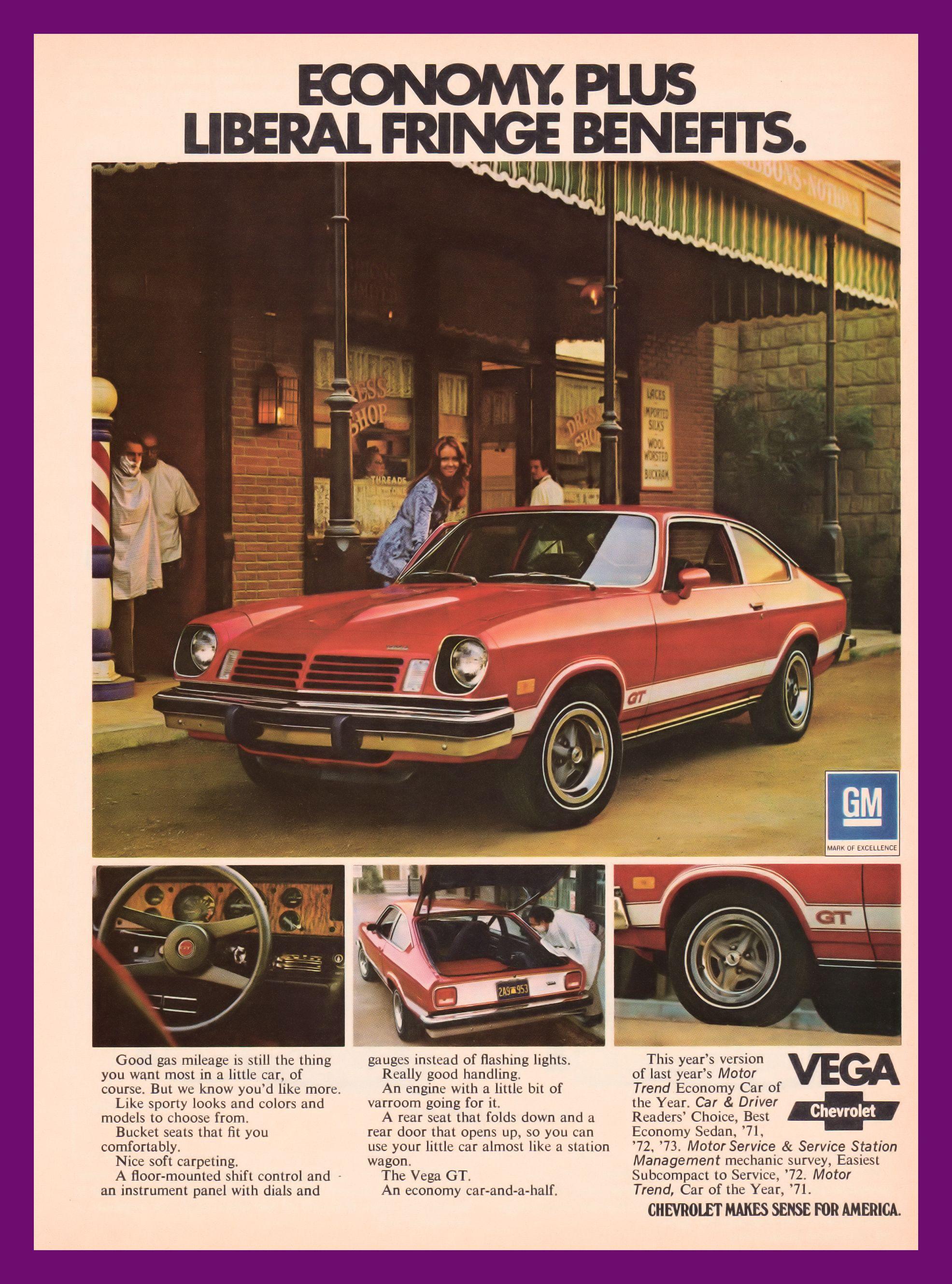 1974 Chevrolet Vega GT Liberal Fringe Benefits Vintage Ad