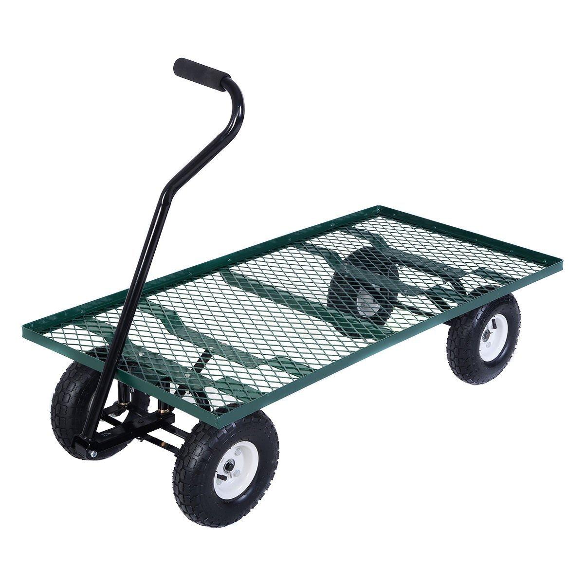Wagon Garden Cart Nursery Steel Mesh Deck Trailer Heavy Duty ...