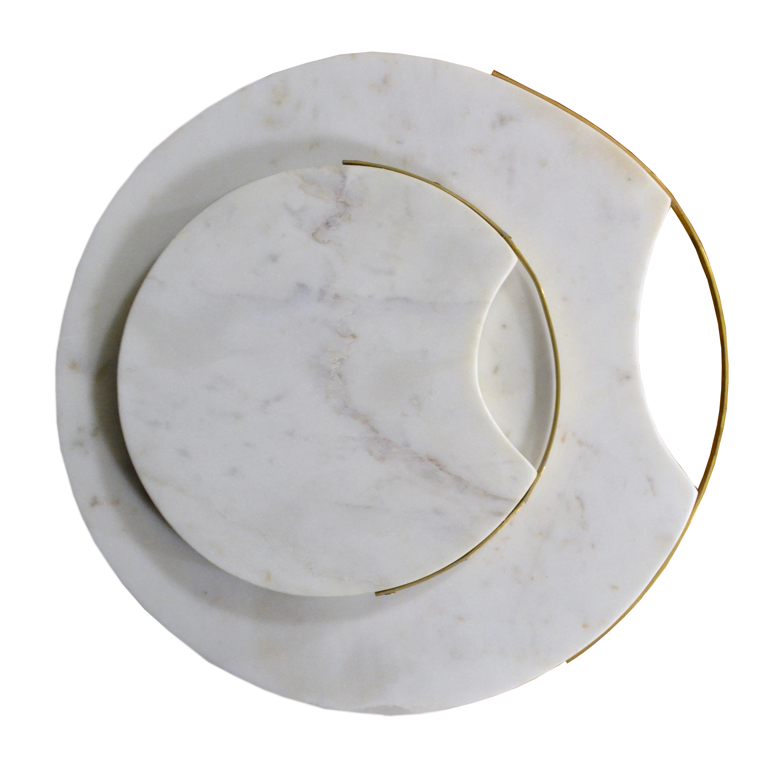 Round Marble Tray with Brass Handle