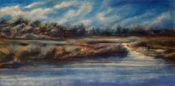 Wetland Glimmer Oil Painting