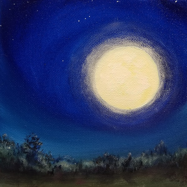 Full Buck Moon Oil Painting