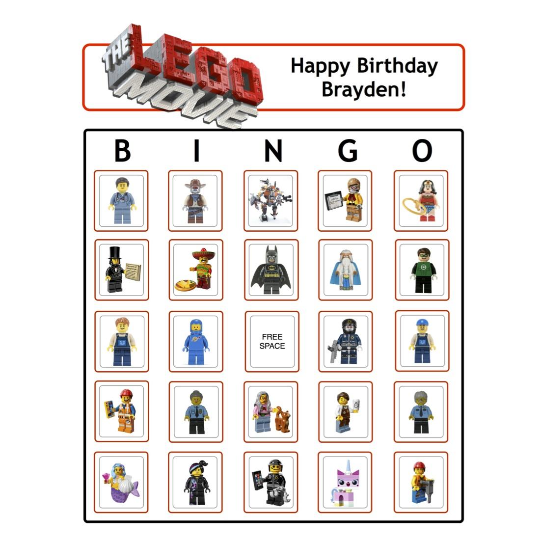 Lego Movie Bingo on Lego Birthday Party Activities