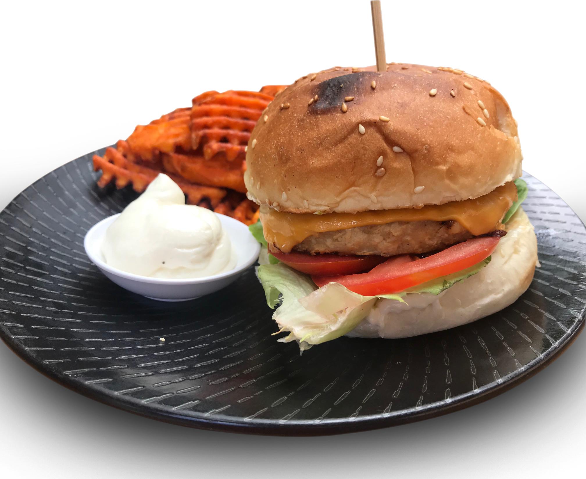 Chicken-Less Burger & Fries