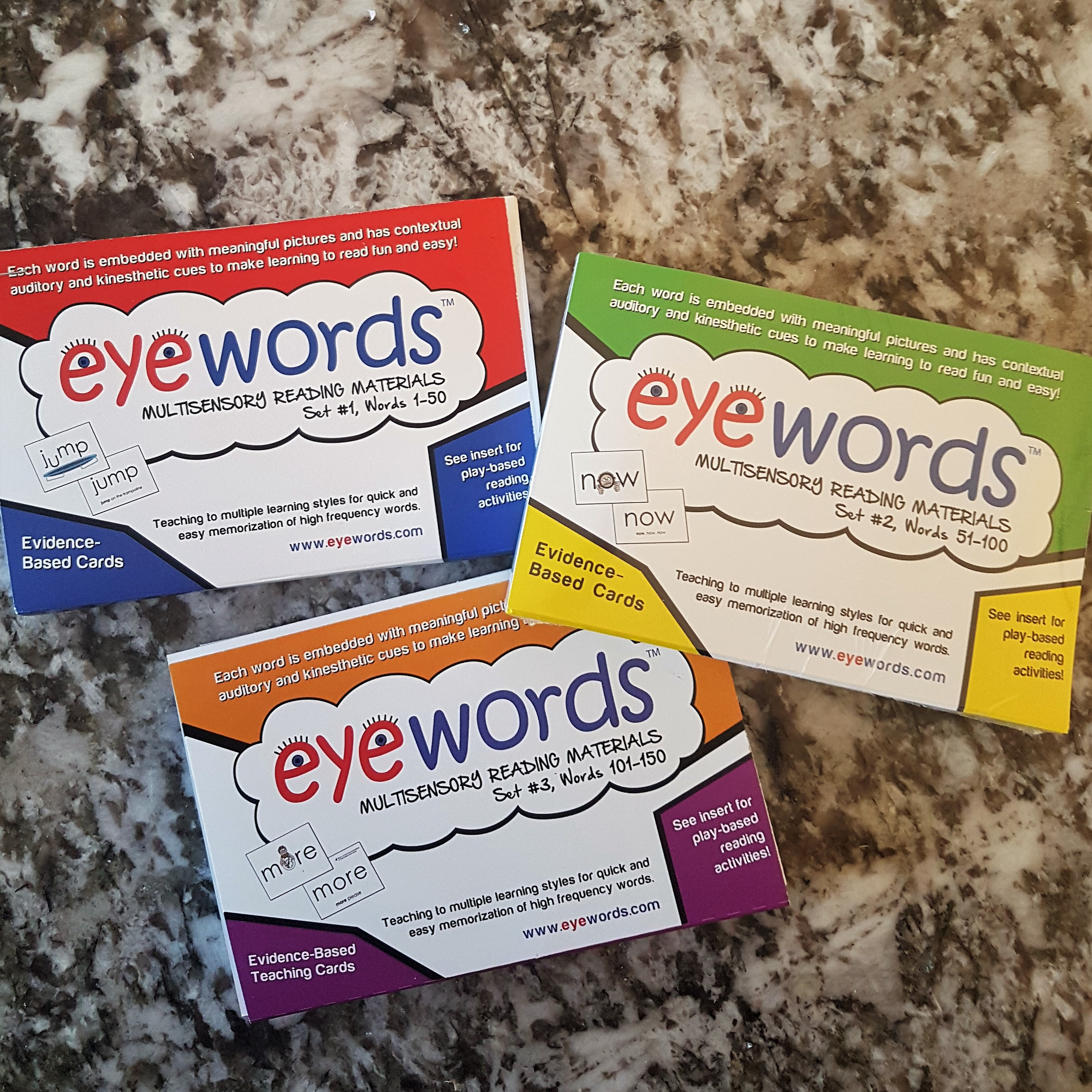 Eyewords Multisensory Sight Word Card Bundle, Sets #1-#3, Words 1-150