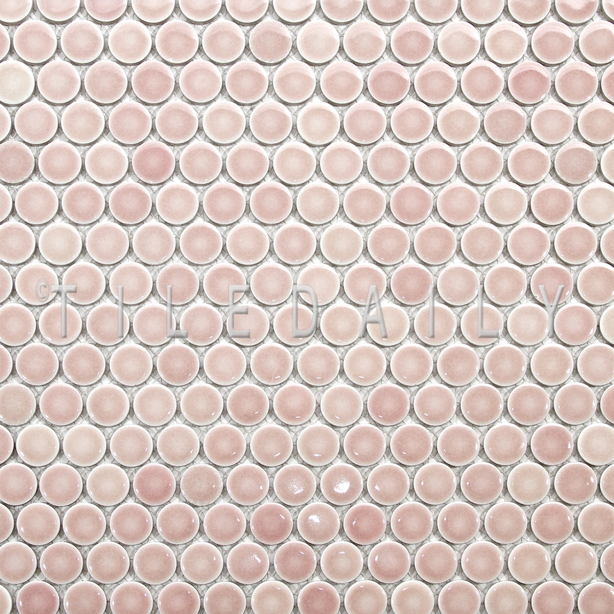 Rose Pink Penny Round Porcelain Mosaic Pack Of - Cheap penny round tile