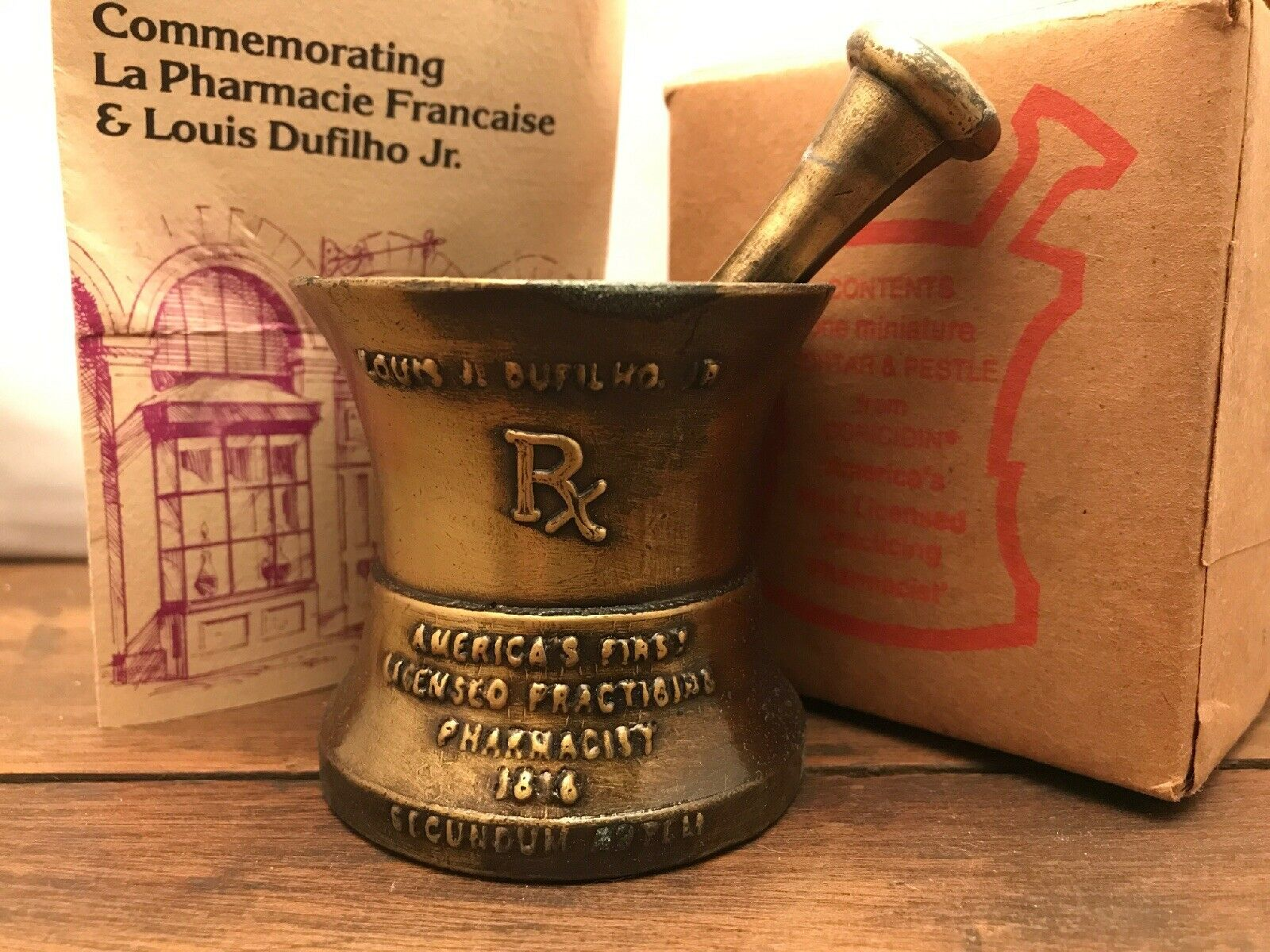 Apothecary Collectible Mini Mortar & Pestle First Licensed Practicing Pharmacist