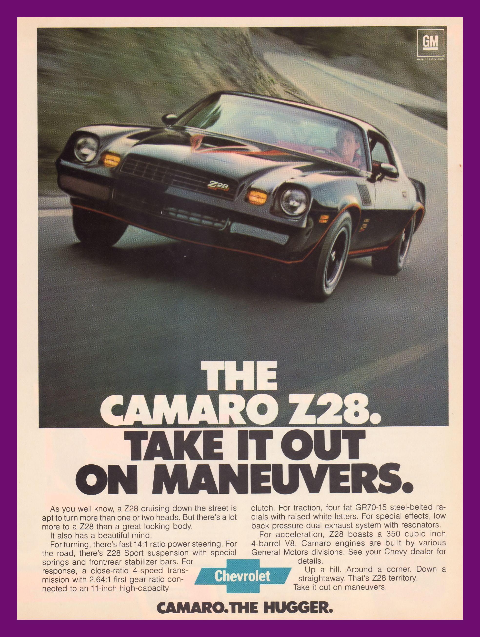 1978 Chevrolet Camaro Z28 Take It On Maneuvers Vintage Ad Brochure
