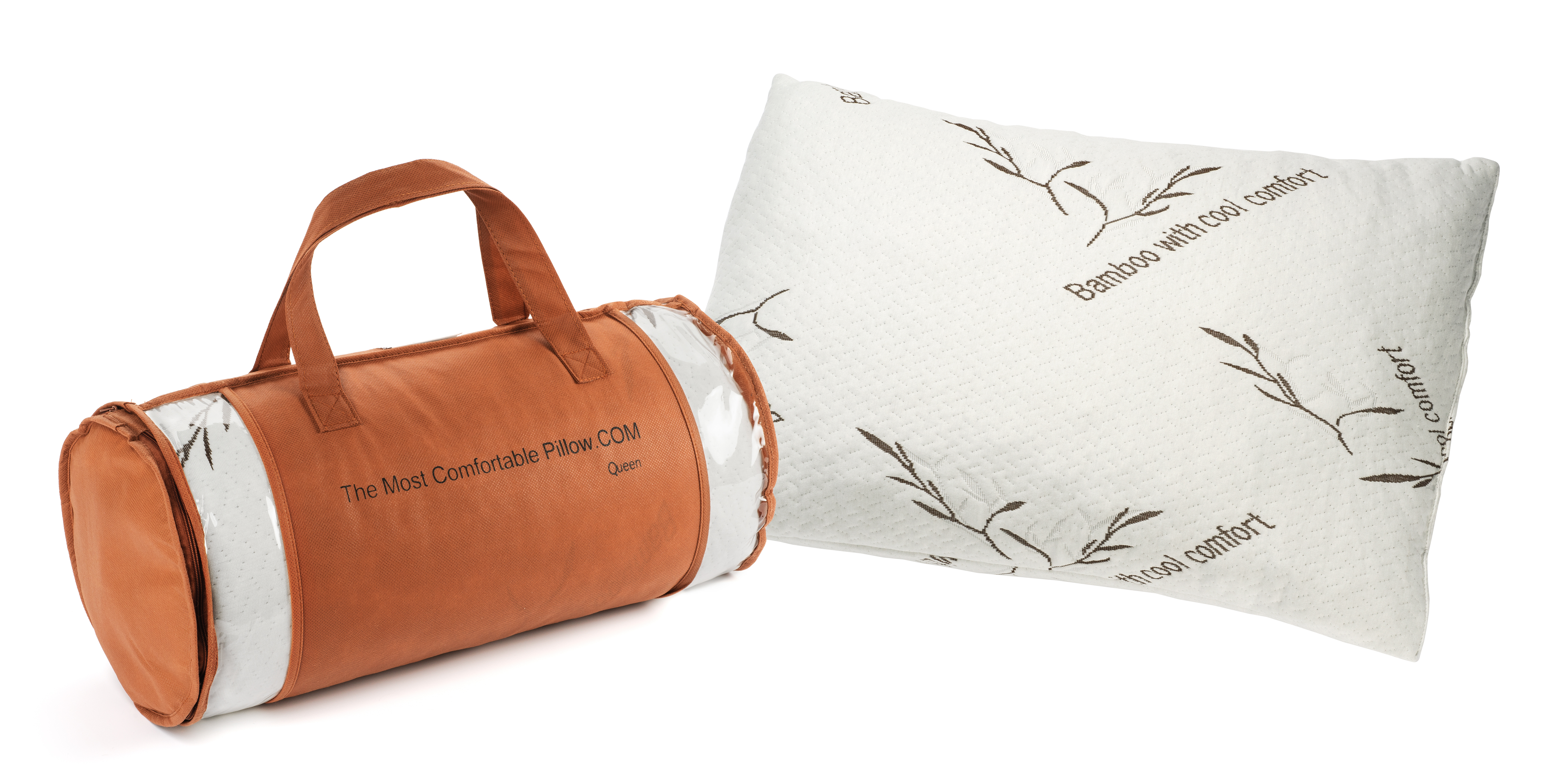 Firm Queen Bamboo Pillow With Removable Cover