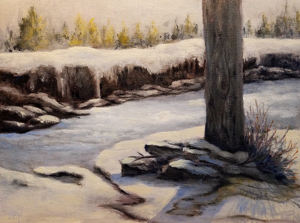 Winter Water Oil Painting