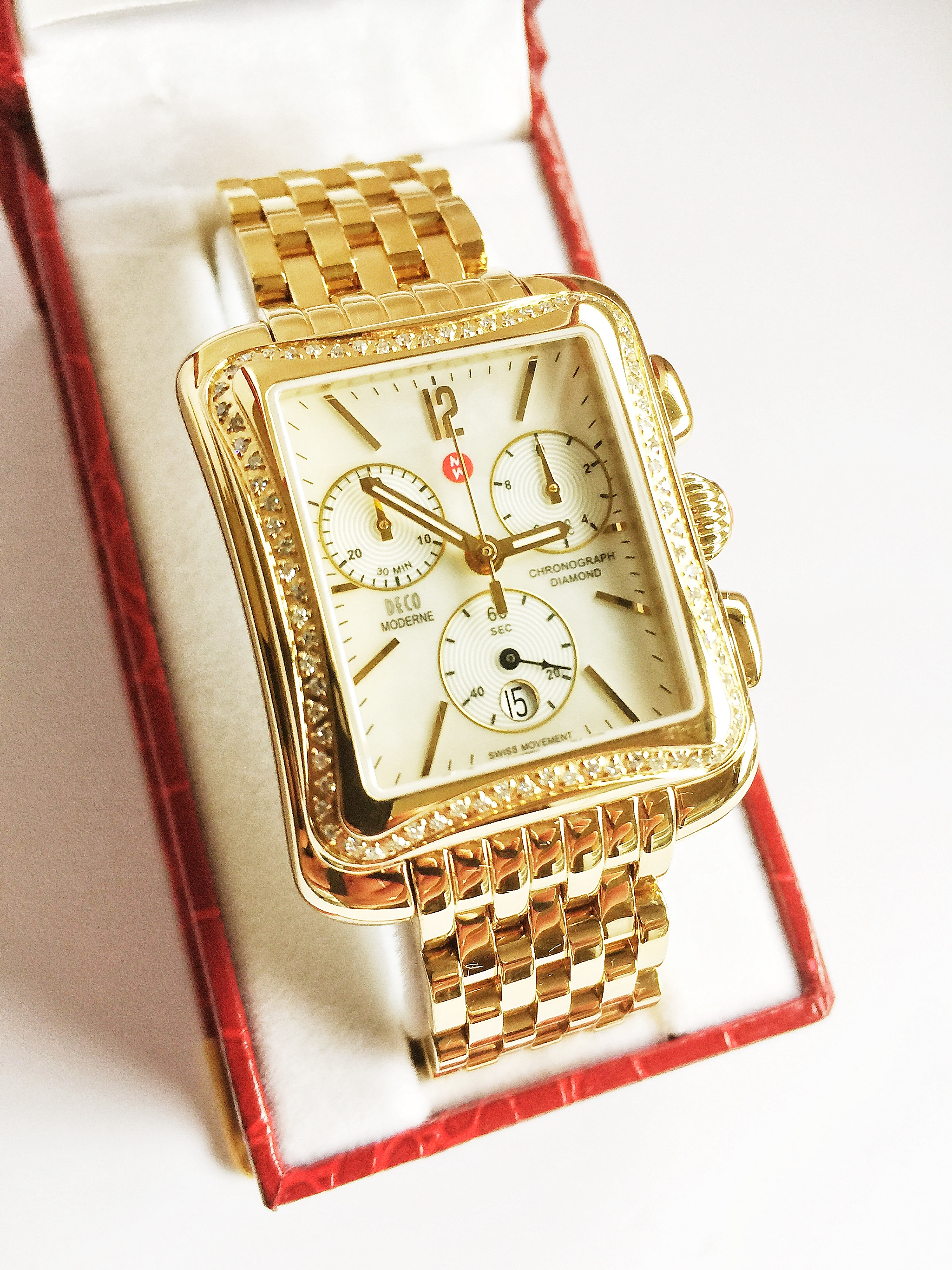 MICHELE LADIES DECO MODERNE DIAMOND SWISS QUARTZ ...