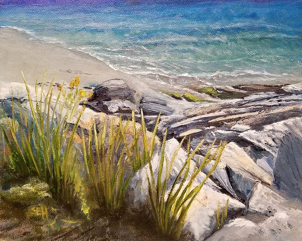 Bright Beach Oil Painting