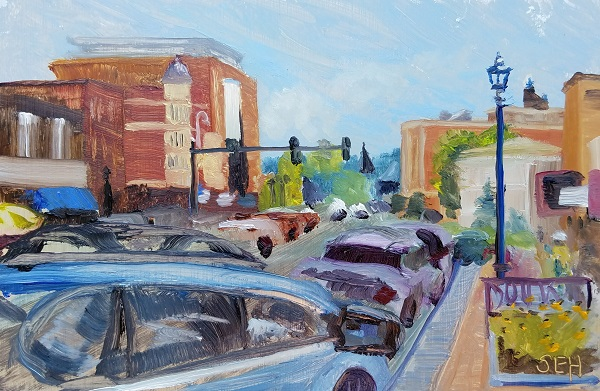 Downtown Concord Oil Painting