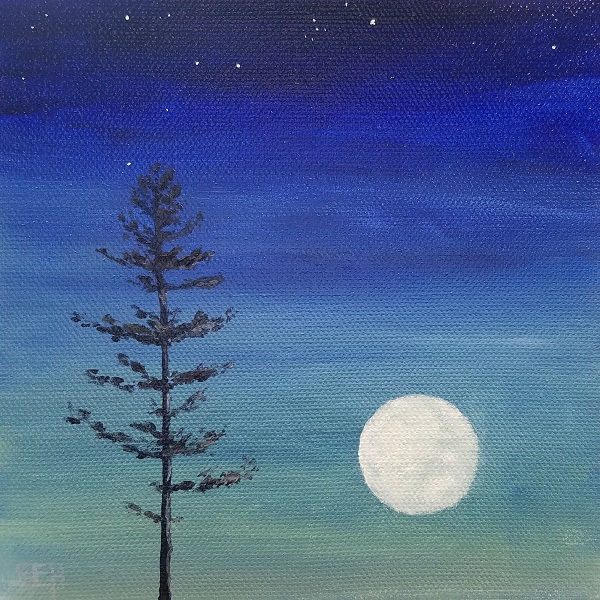 Full Pine Moon August Oil Painting