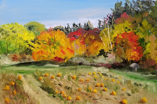 Farm Fall Oil Painting
