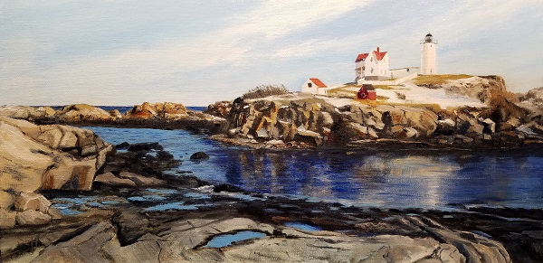 Nubble Winter Oil Painting