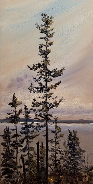 Adams Point Pine Oil on Copper Painting