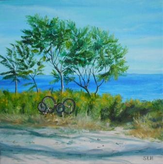 Bikes Waiting Oil Painting