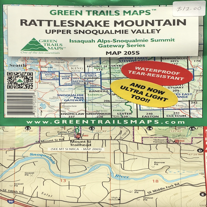 Green Trails Map: Rattlesnake Mountain Upper Snoqualmie Valley