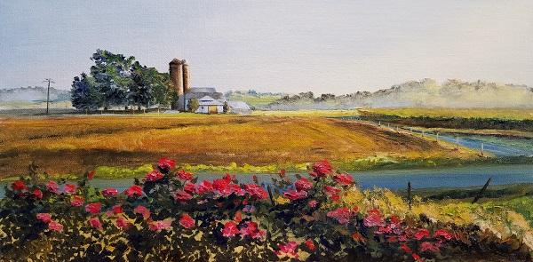 Yellow Barn Door Oil Painting