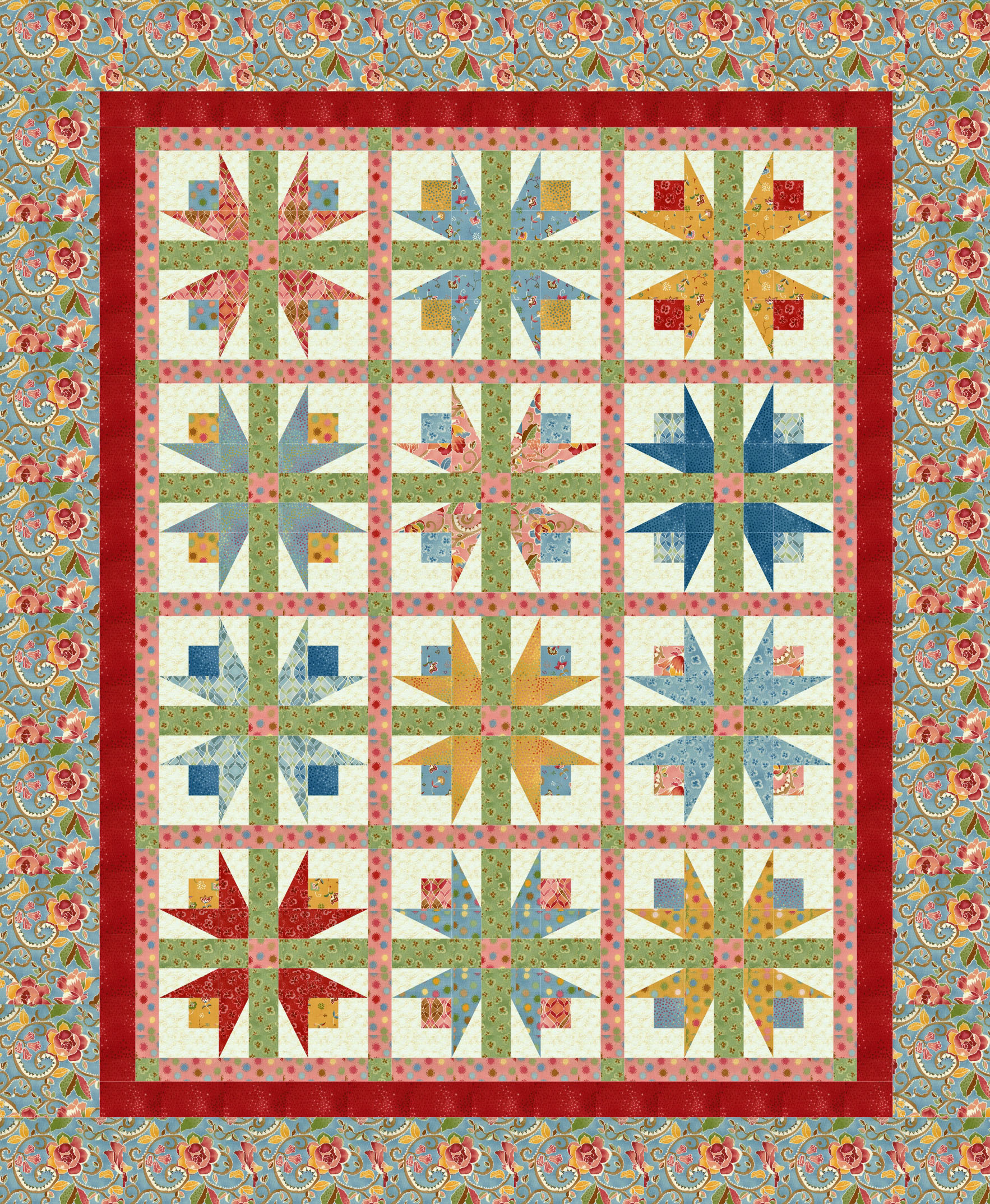 twirling tulips quilting pattern