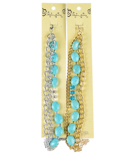 Turquoise Beads Chain Bracelet
