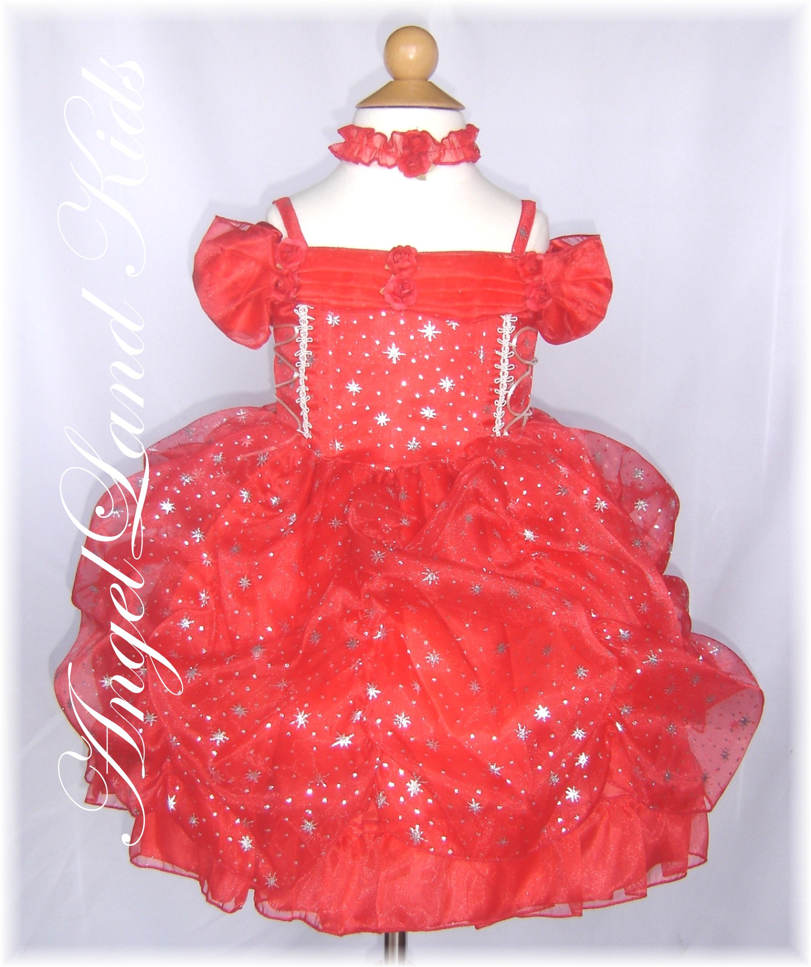 P Baby Girls Red Stars Pageant Dress