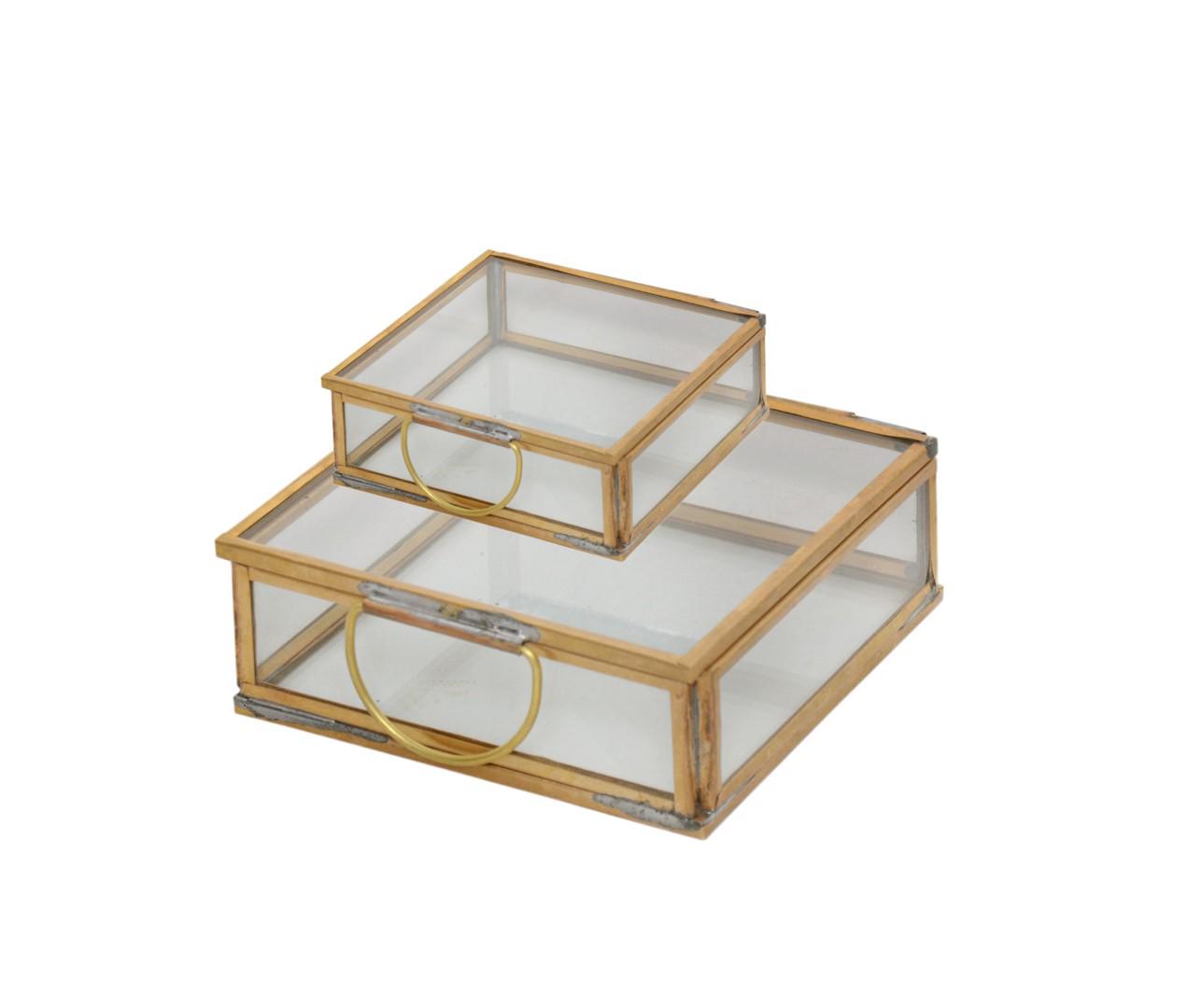 Brass & Glass Flat Square Box
