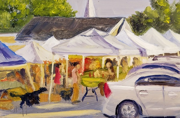 Canterbury Market Oil Painting