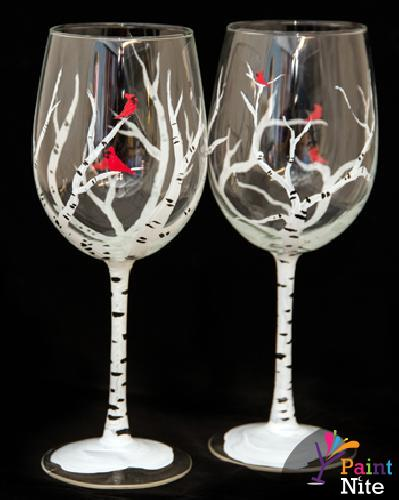Wedding Themed Wine Glass Painting