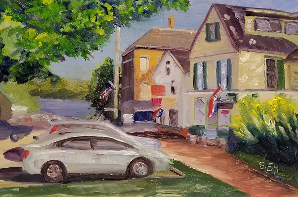 Downtown Wiscasset Oil Painting