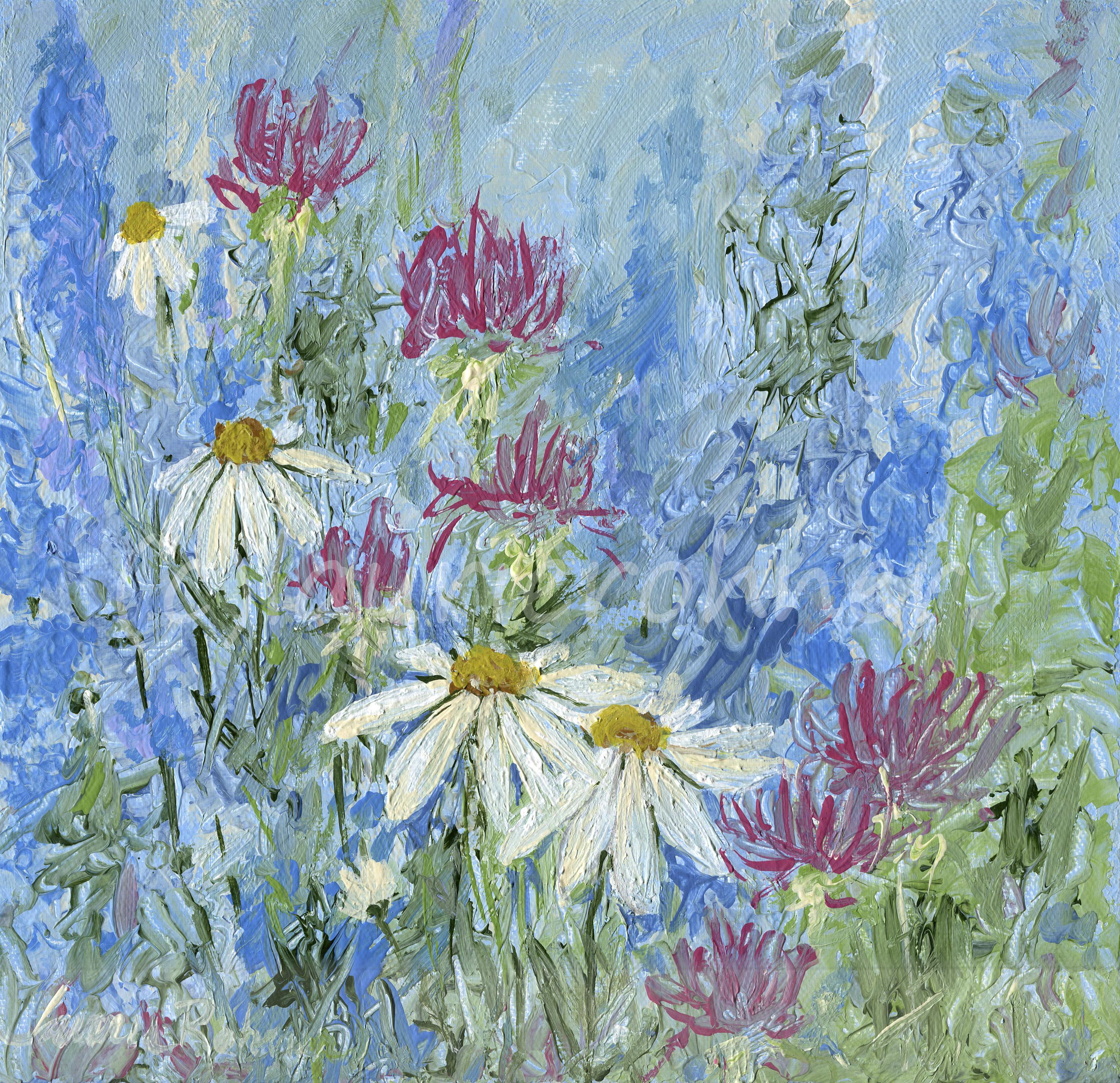 Blue Garden Flower Wildflower Acrylic Modern Original Nature Art