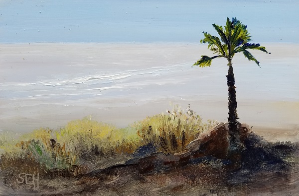 Beach Palm Oil Painting
