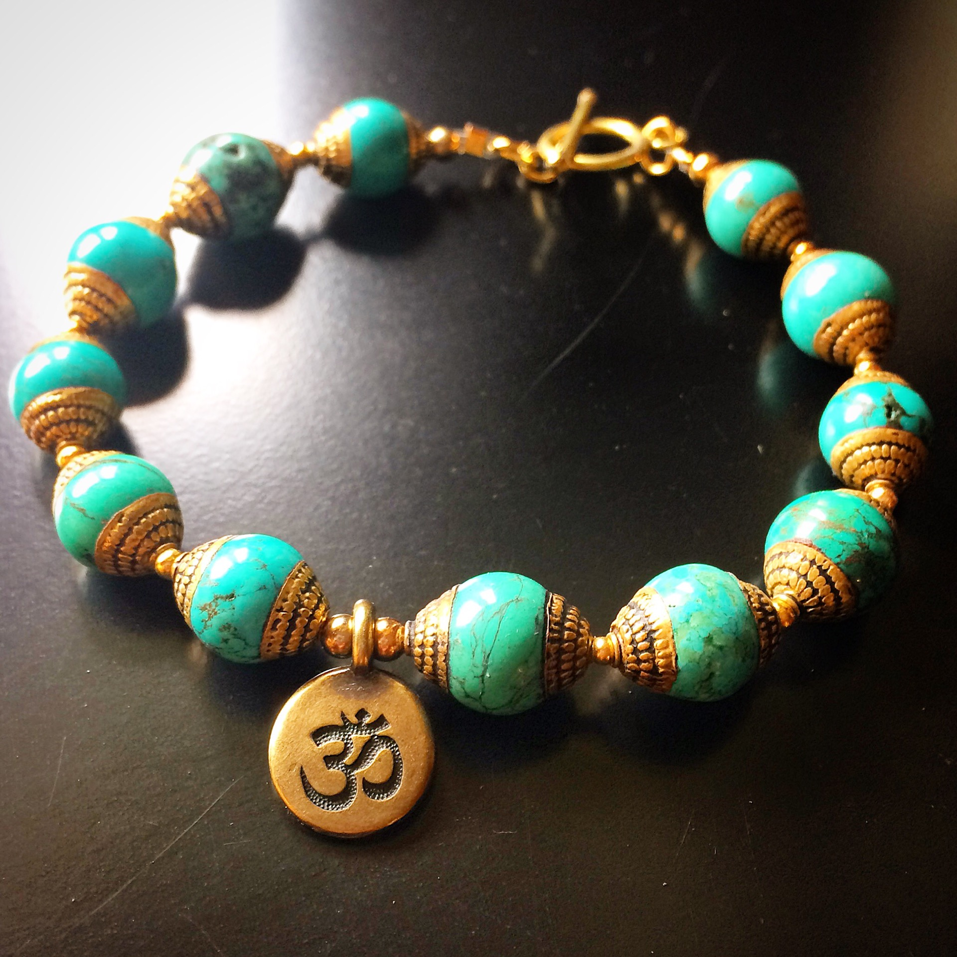 ROX Turquoise Tibetan Bead Bracelet with Zen Charm and ...