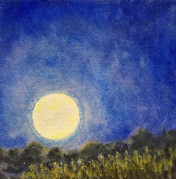 Full Harvest Moon Oil Painting