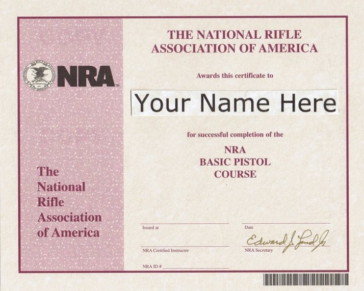 Nra pistol permit replacement certificate yadclub Choice Image