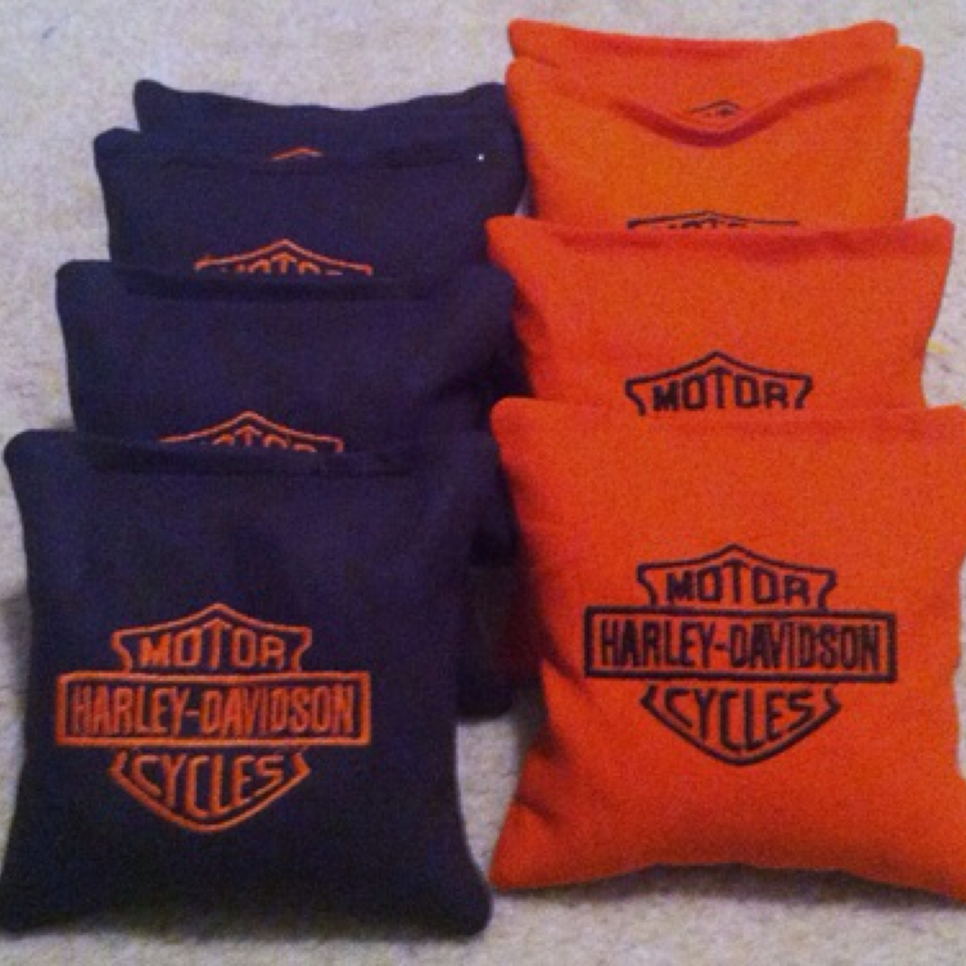 harley davidson embroidered cornhole bags