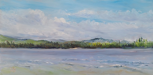 Lake Wentworth View Oil on Copper Painting