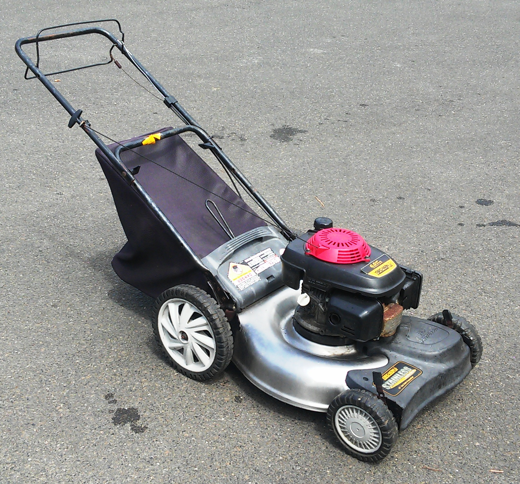 SOLD! Honda Powered STAINLESS STEEL Push/Self Propelled Bagger Lawn ...