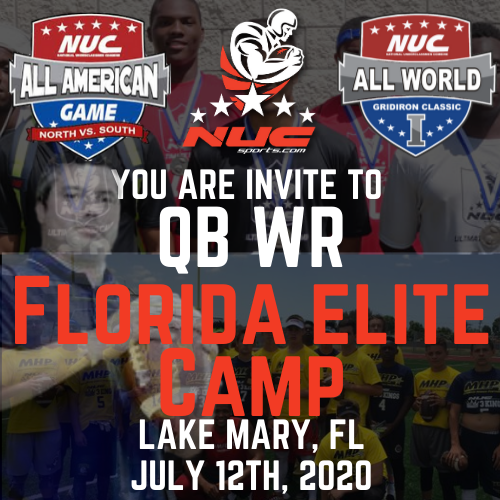 Coach Schuman's QB WR Florida Elite Camp & Challenge, July 12th, 2020 Lake Mary, FL