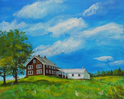 Pitcher Mountain Farm Oil Painting