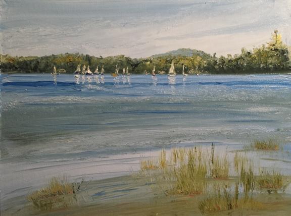 Sunday Yacht Club Oil Painting
