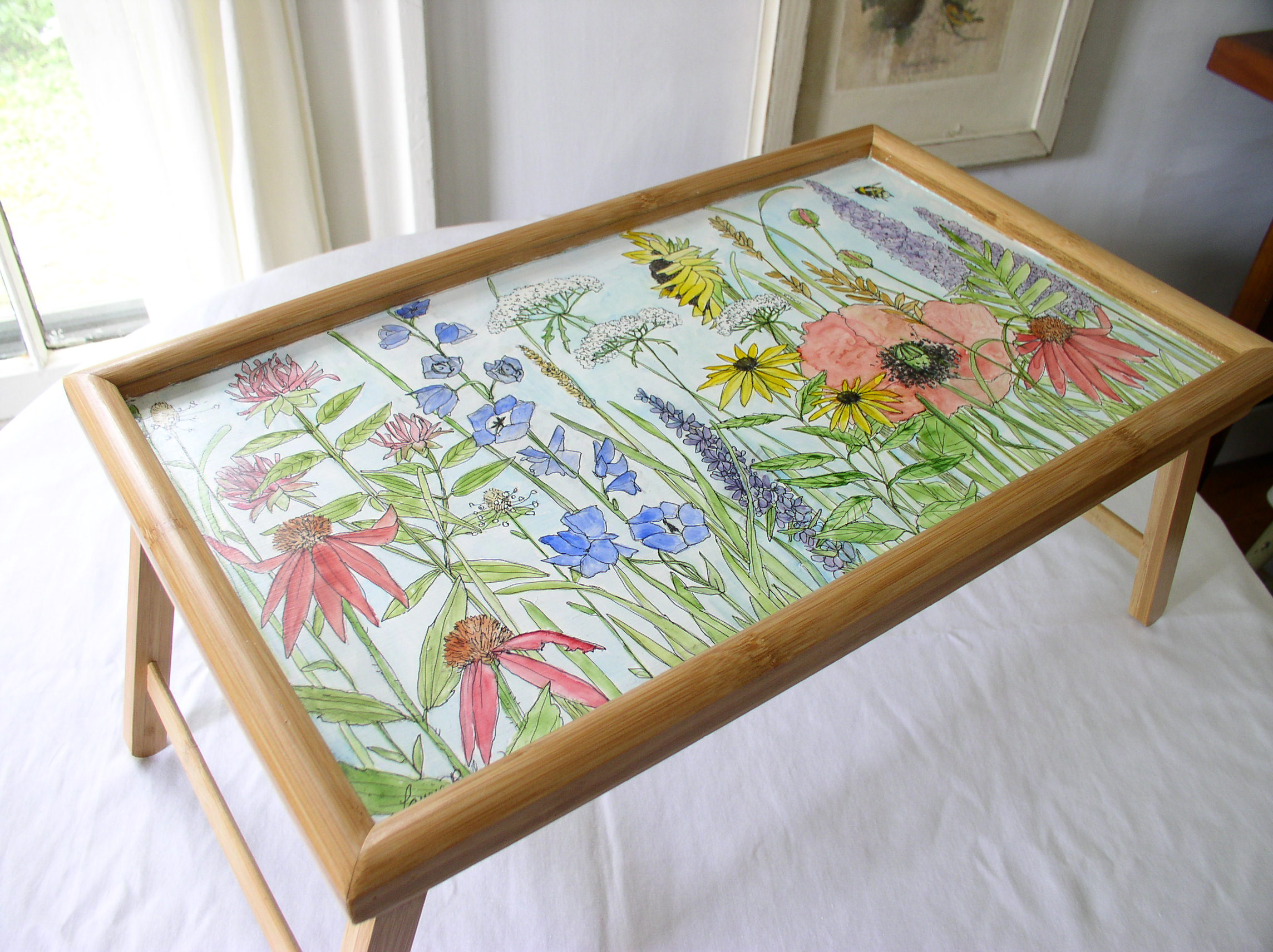 Farmhouse Watercolor Painted Furniture Bed Tray with Garden Flowers