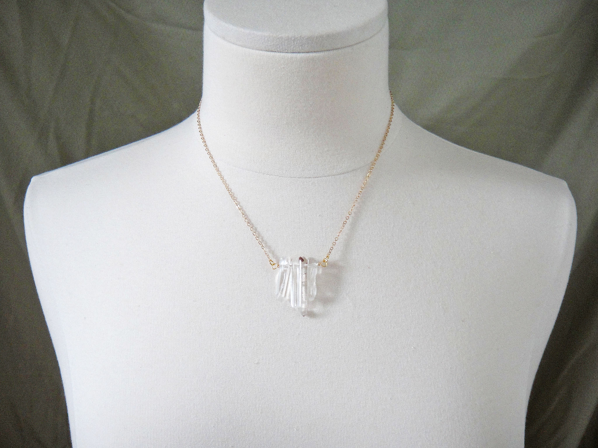 Crystal Quartz Pendant Necklace 14k Gold