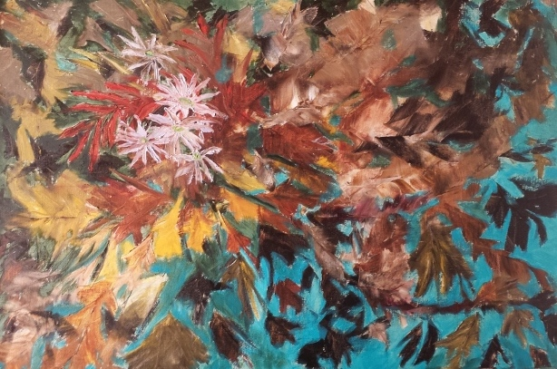 Autumn Bouquet on Teal Oil Painting