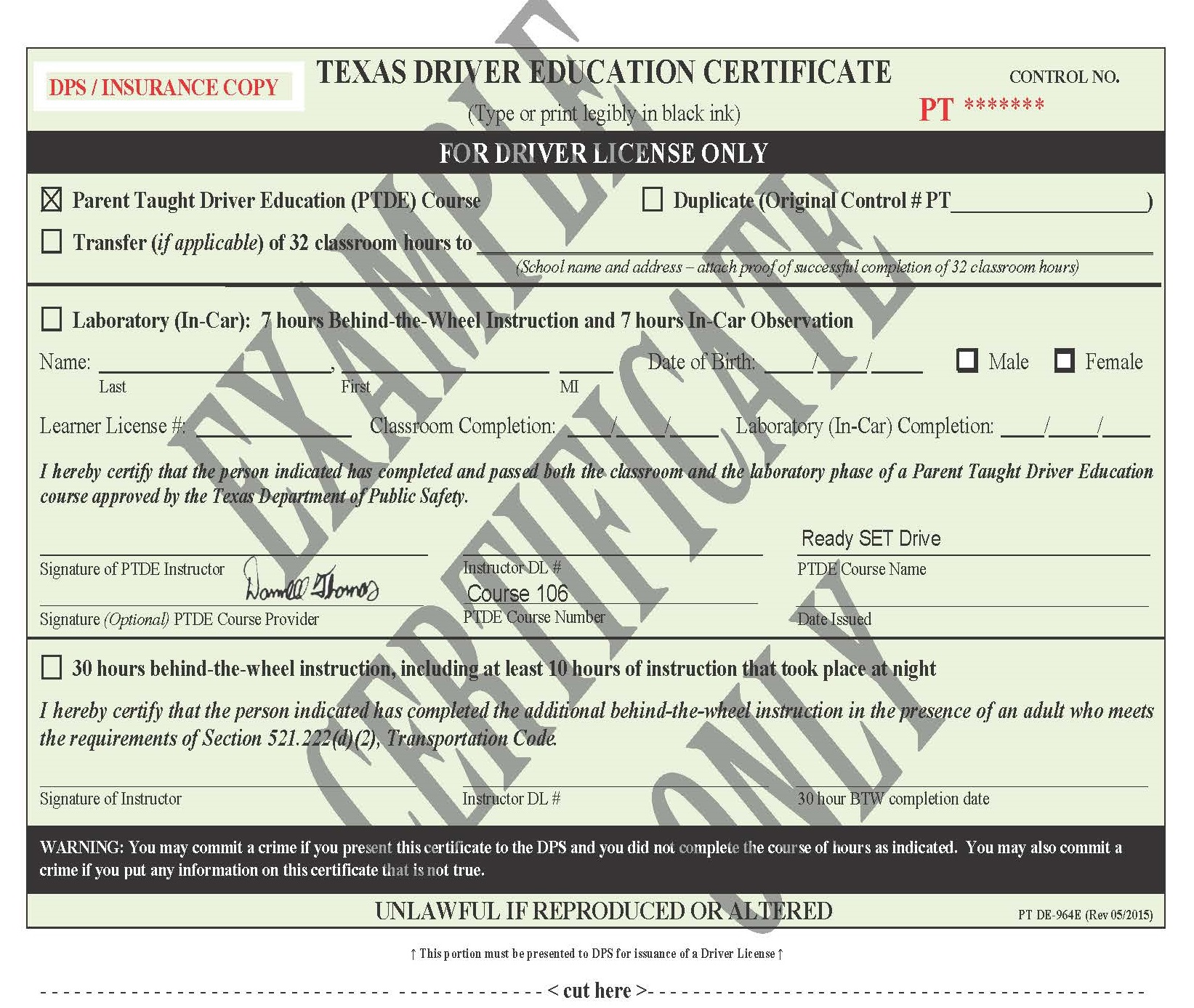 604 Duplicate De 964e Certificate Ready Set Drive Course 106
