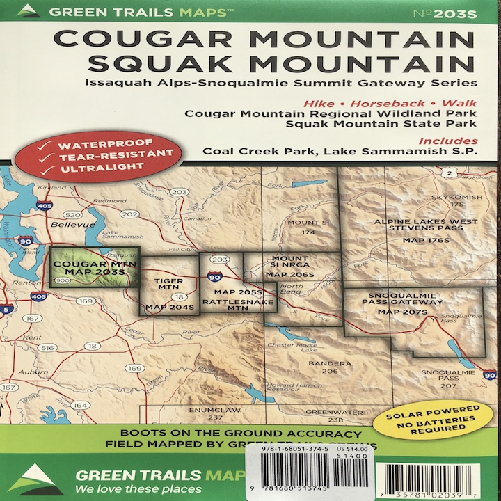 Green Trails Maps: Cougar Mountain / Squak Mountain