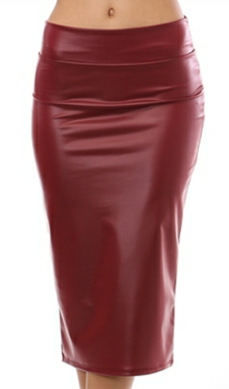 Wine High Waist Faux Leather Skirt